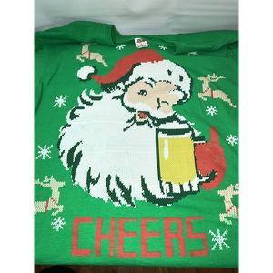 Christmas Shirt Santa CHEERS with a beer mug